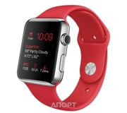 Фото Apple Watch 42mm Stainless Steel Case with RED Sport Band (MLLE2)