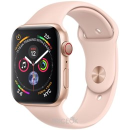 Умные часы, браслет спортивный Apple Watch Series 4 (GPS + Cellular) 44mm Gold Aluminum Case with Pink Sand Sport Band (MTV02)