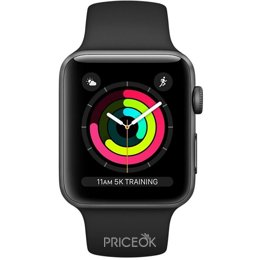 Умные часы, браслет спортивный Apple Watch Series 3 GPS 38mm Space Grey Aluminium Case with Black Sport Band (MTF02)
